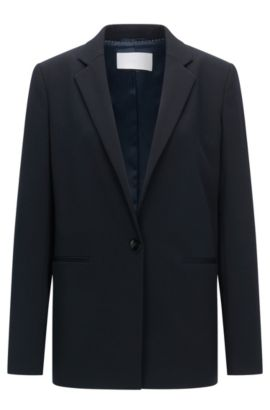 Stretch-twill jacket in a regular fit, Dark Blue