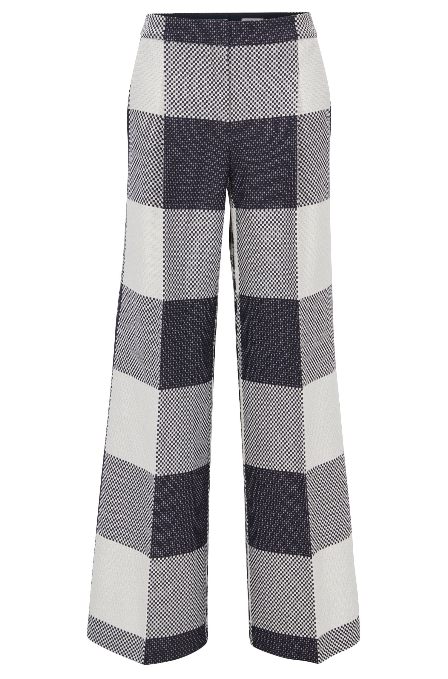 Pantaloni relaxed fit a gamba larga in cotone
