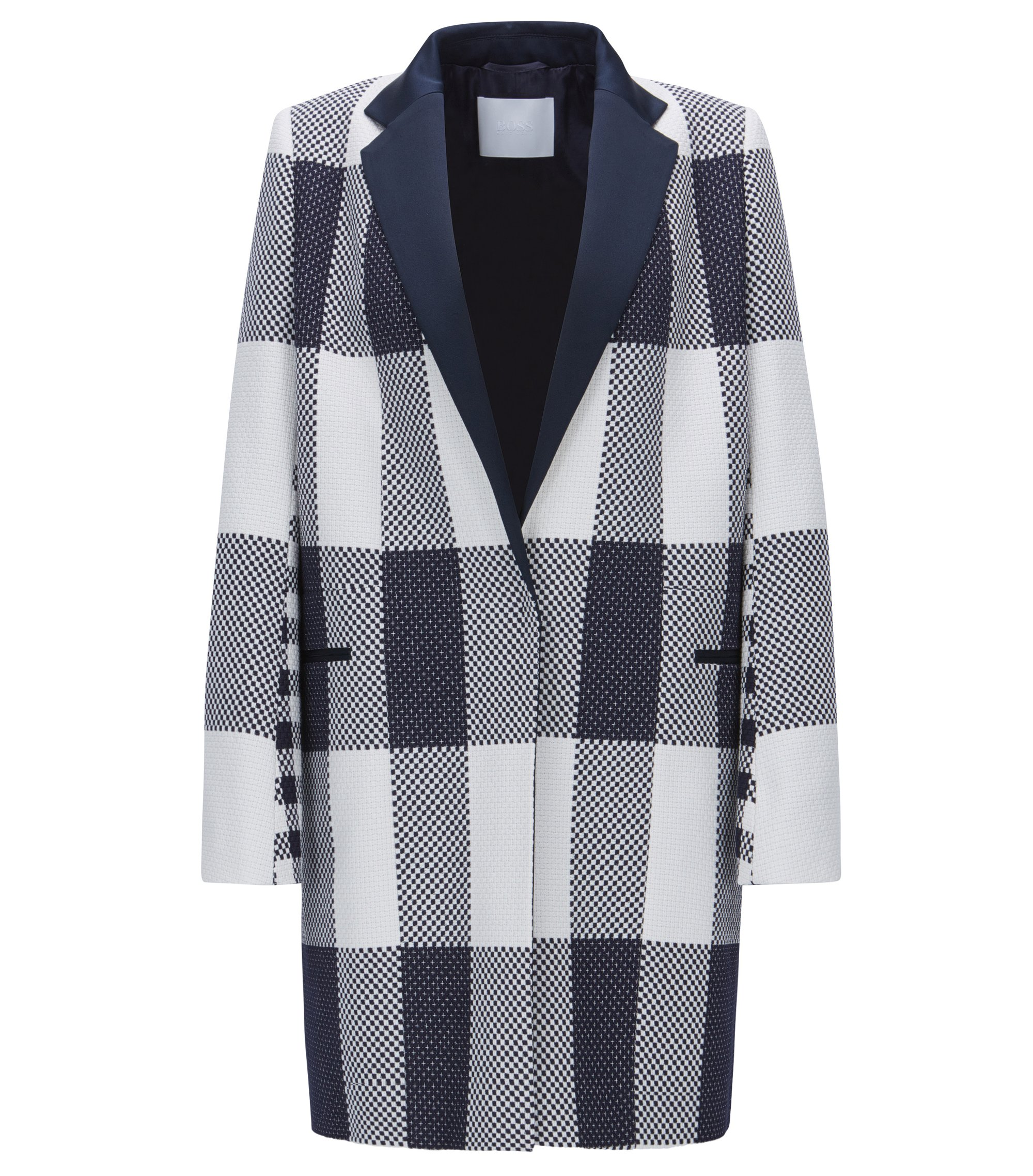 Checked relaxed-fit coat in cotton jacquard, Patterned