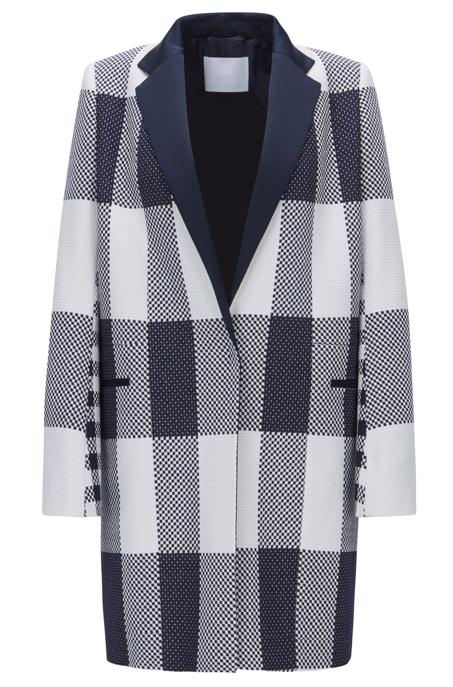 Checked relaxed-fit coat in cotton jacquard