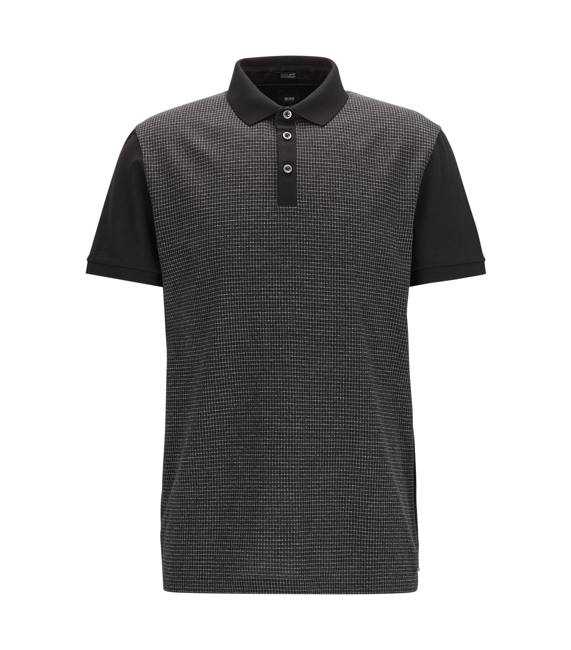 Regular-fit cotton polo shirt with mouliné check front panel, Black