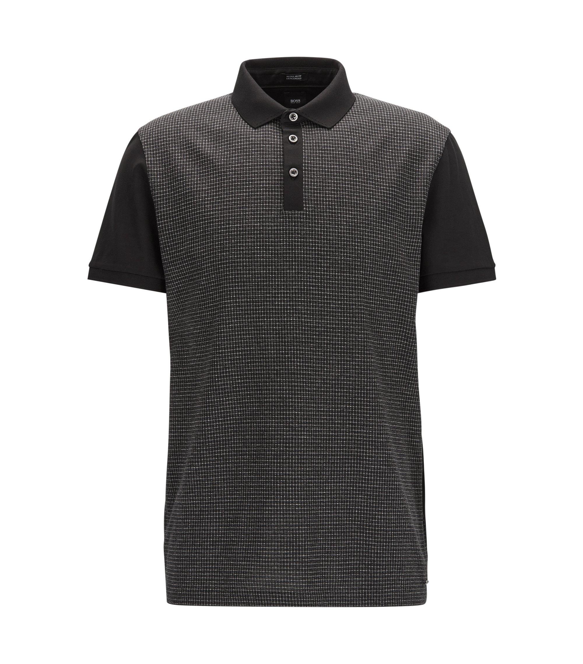 Regular-Fit Poloshirt aus reiner Baumwolle mit Fensterkaro vorne, Schwarz
