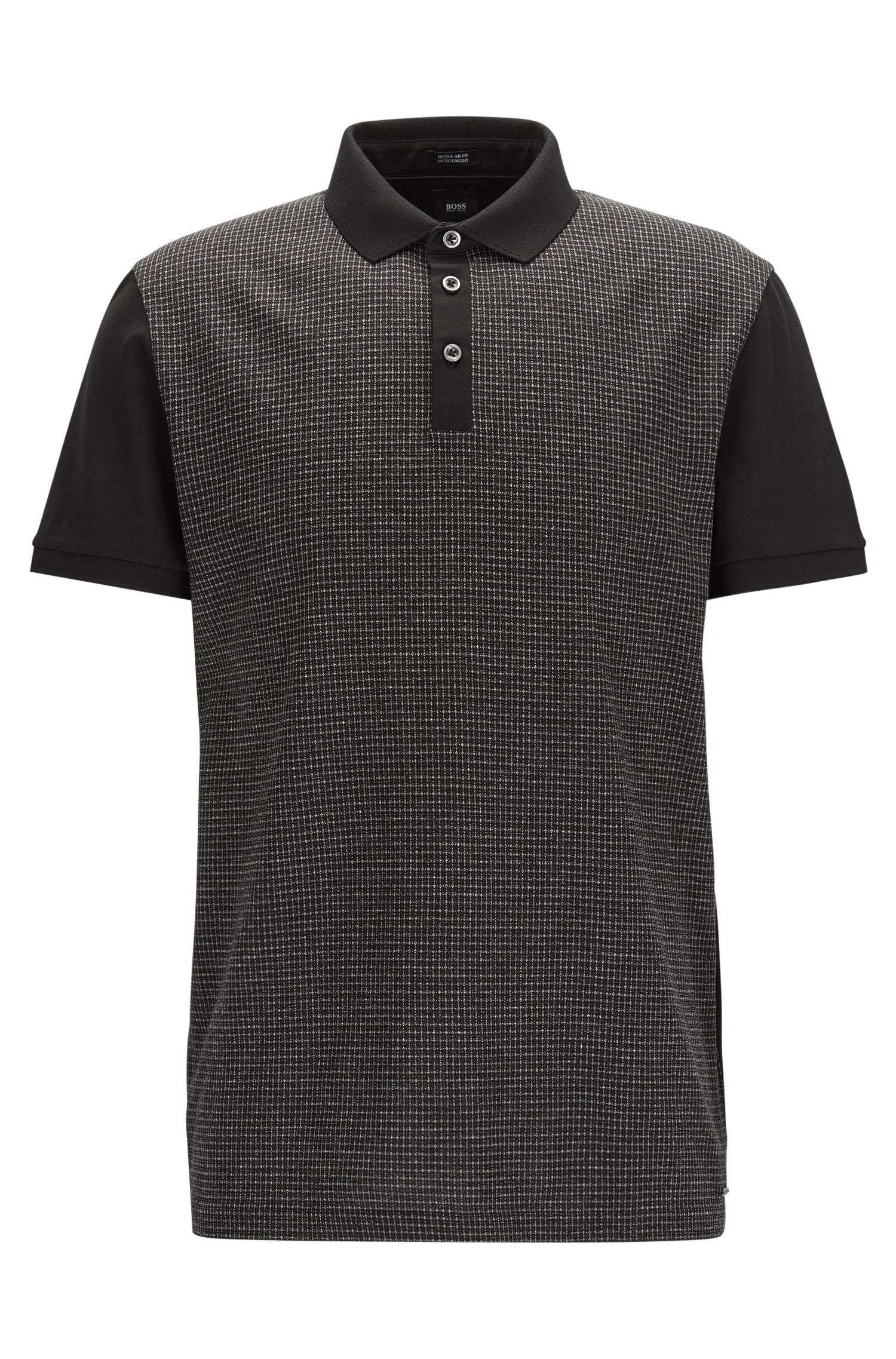 Regular-fit cotton polo shirt with mouliné check front panel