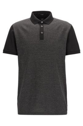 Polo Regular Fit en coton avec empiècement avant à motif carreaux moulinés, Noir