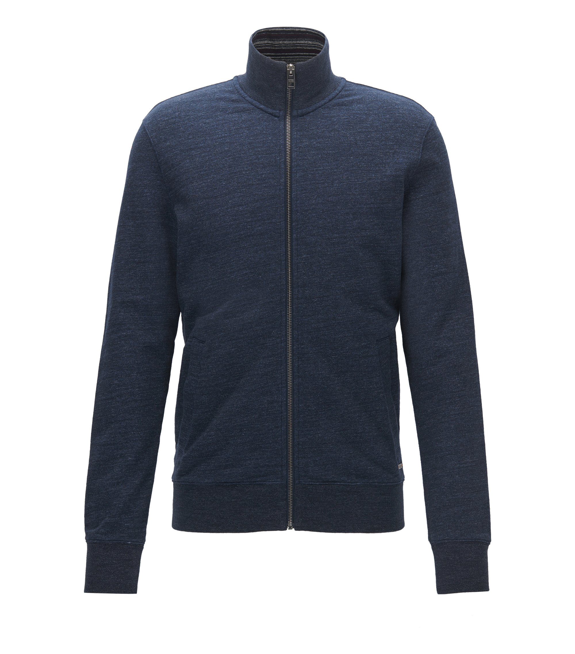 Maglione con zip integrale in french terry mélange, Blu scuro