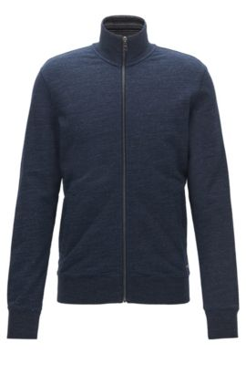 Zip-through sweater in heathered French terry, Dark Blue