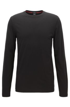 Long-sleeved T-shirt in a cotton blend, Black