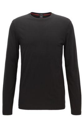 T-shirt van een katoenmix met lange mouwen, Zwart