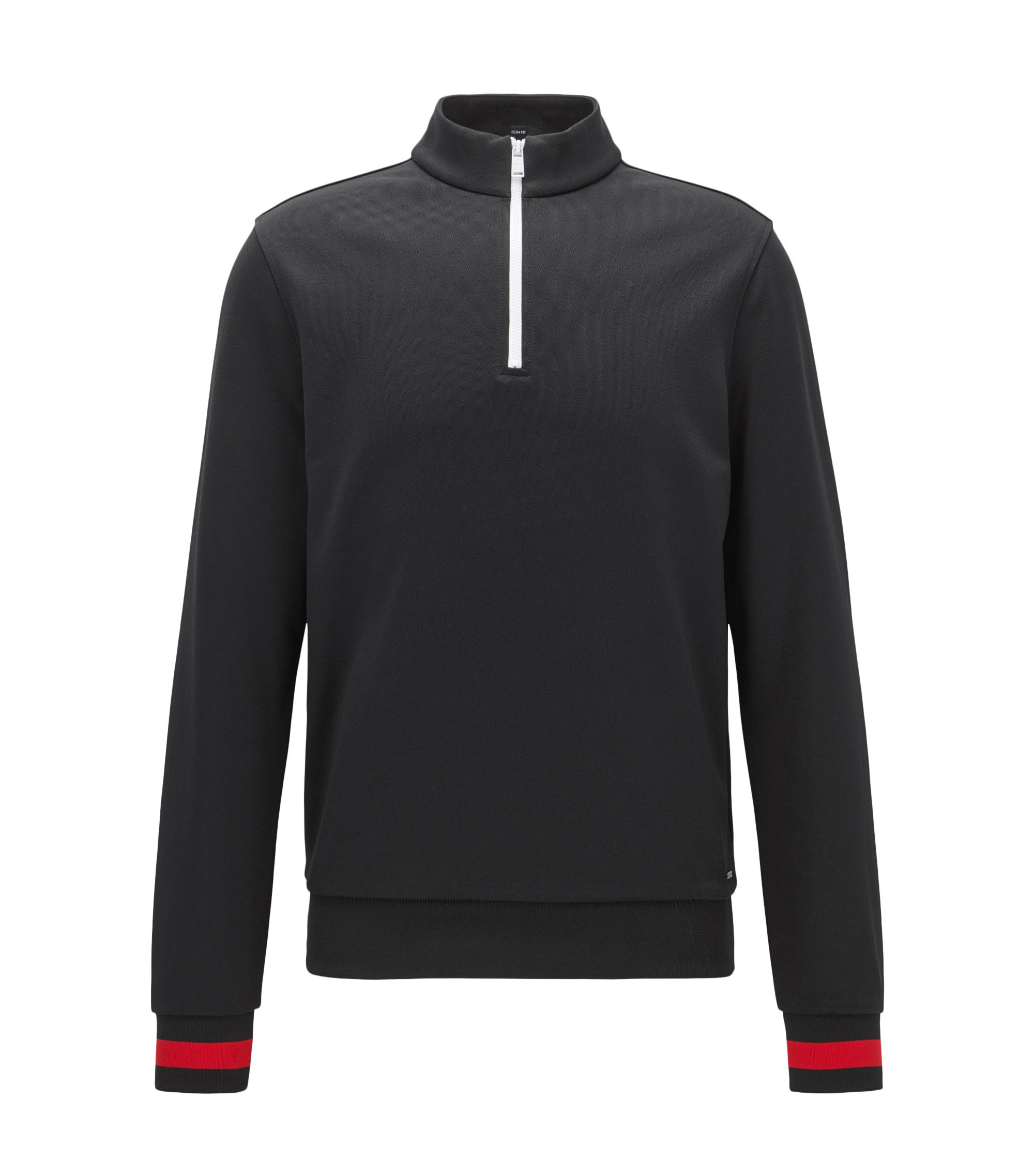 Zip-neck sweatshirt in a technical fabric with contrast details, Black