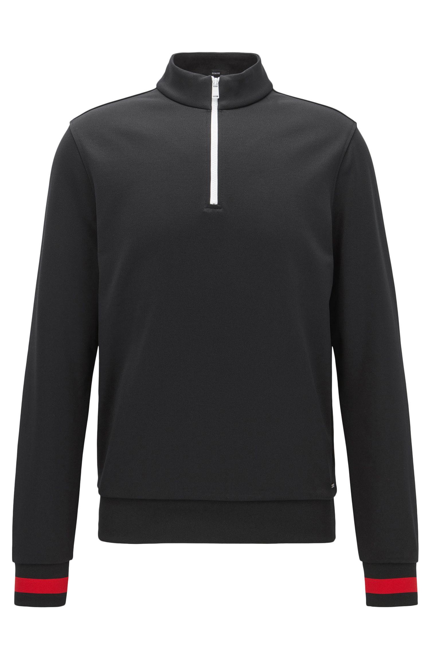 Sweater met rits aan de hals, van technisch materiaal met contrastdetails