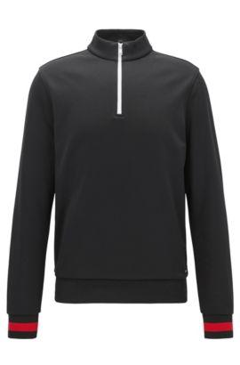 Sweat en tissu technique à encolure zippée et détails contrastants, Noir