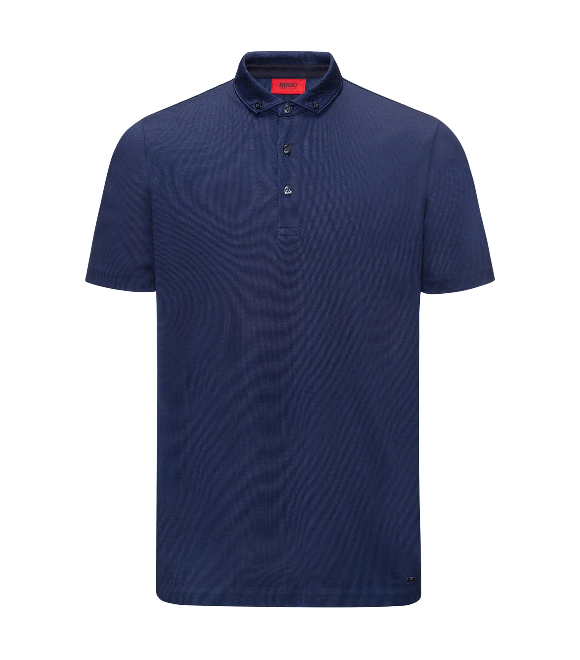 Mercerised cotton jacquard polo shirt in a regular fit, Dark Blue