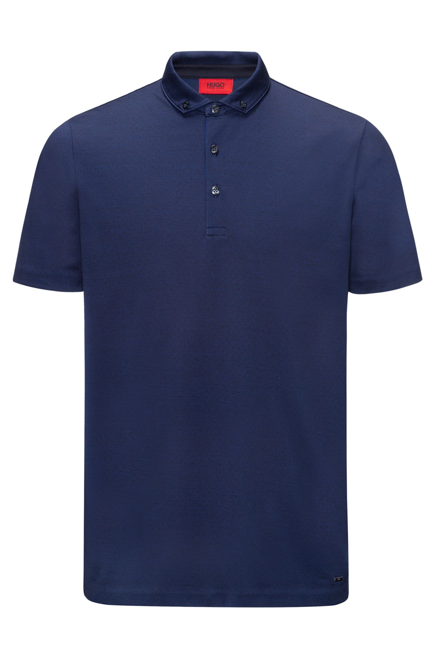 Polo regular fit en jacquard de algodón mercerizado