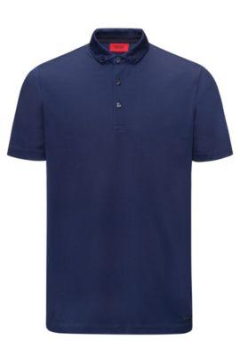 Polo con taglio regolare in cotone jacquard mercerizzato, Blu scuro