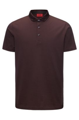Mercerised cotton jacquard polo shirt in a regular fit, Dark Red