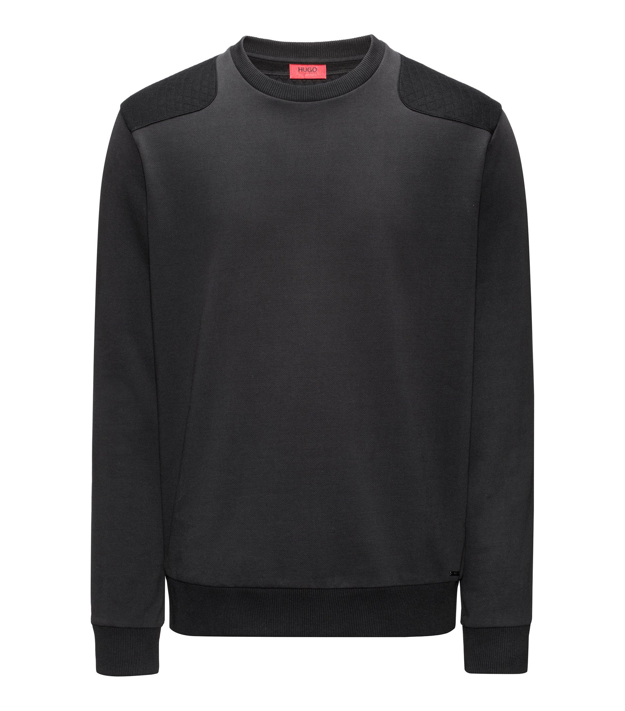 Pullover aus Baumwolle mit Stepp-Details, Schwarz