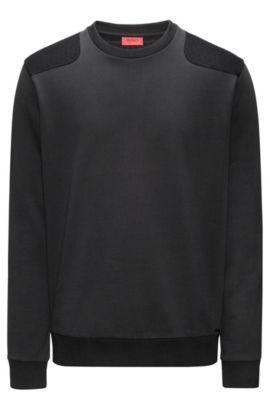 Jersey de algodón con paneles acolchados, Negro