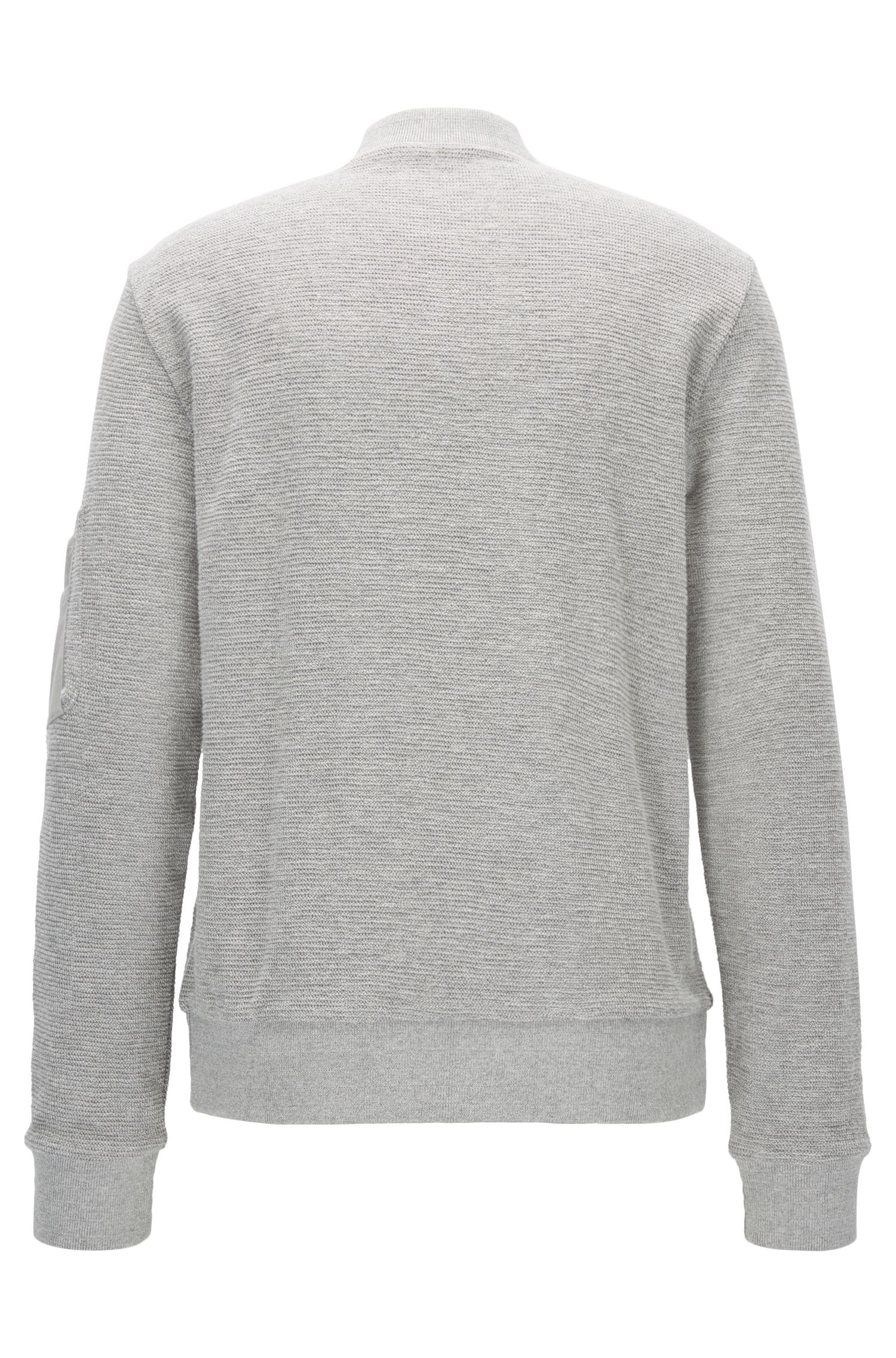 Bomber-style sweatshirt in cotton jacquard