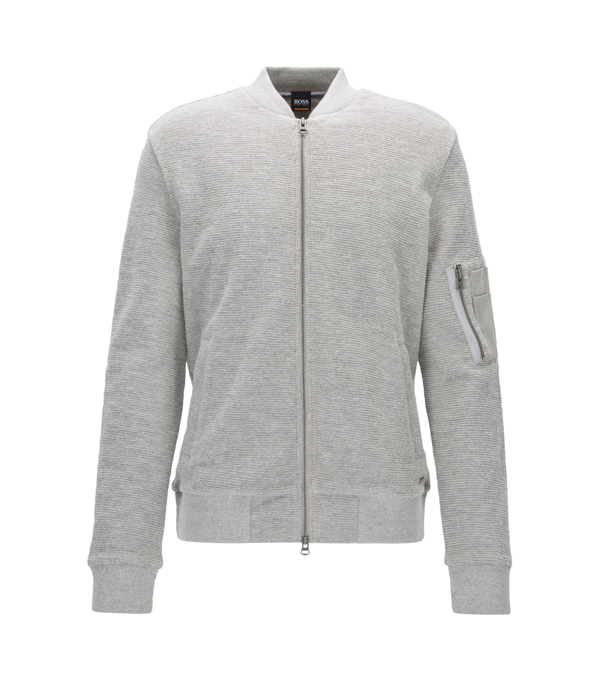 Bomber-style sweatshirt in cotton jacquard, Light Grey