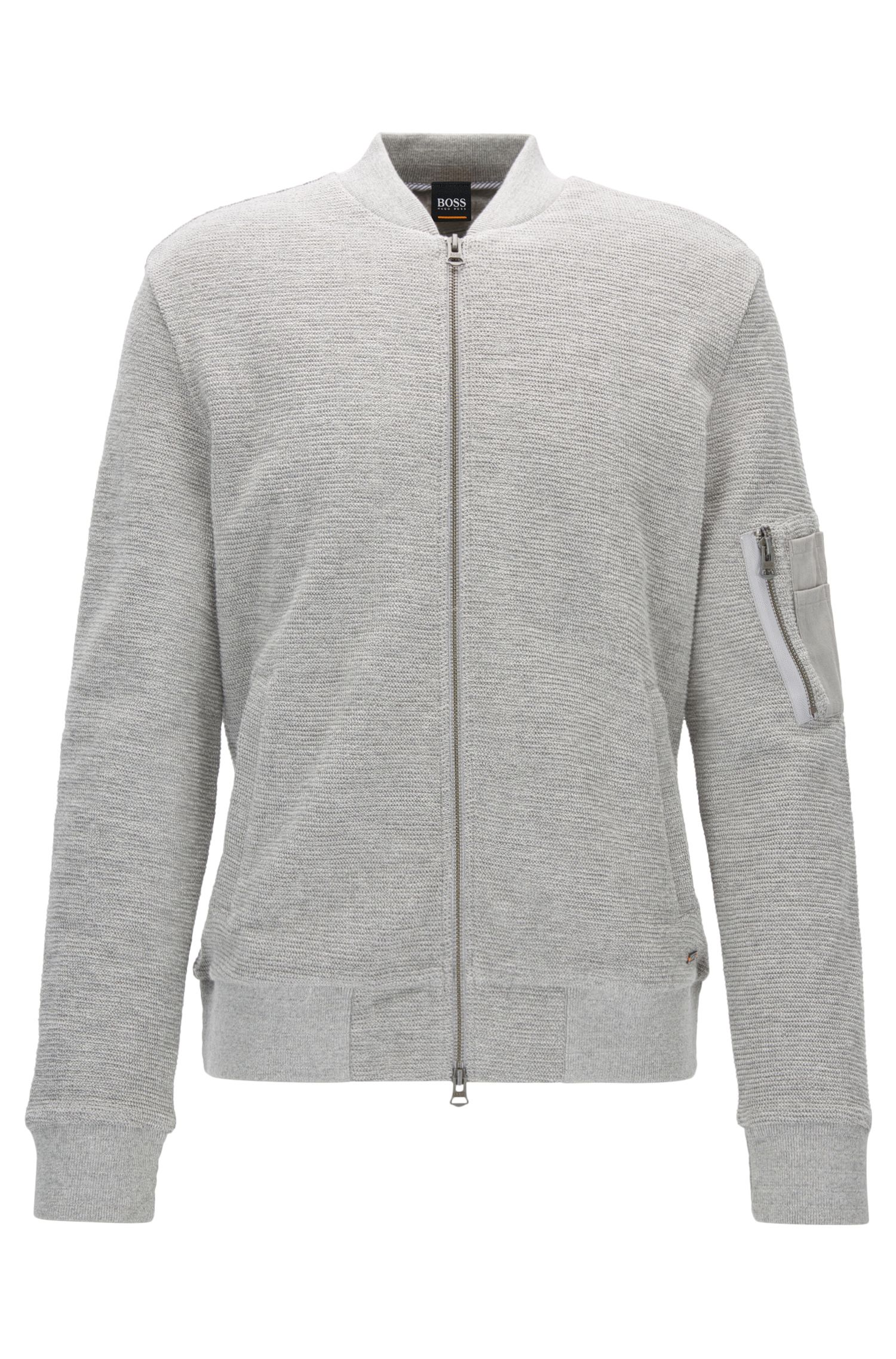Bomber-style sweatshirt in cotton jacquard