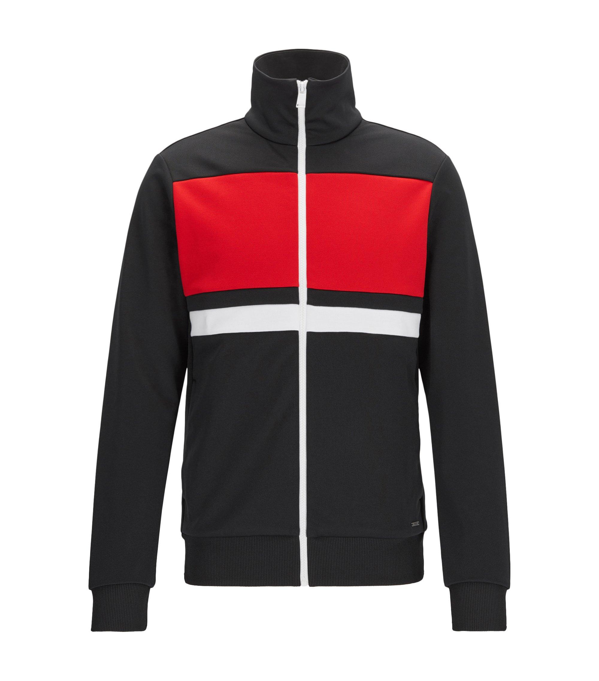Slim-fit sweatshirt met rits en contraststrepen, Zwart