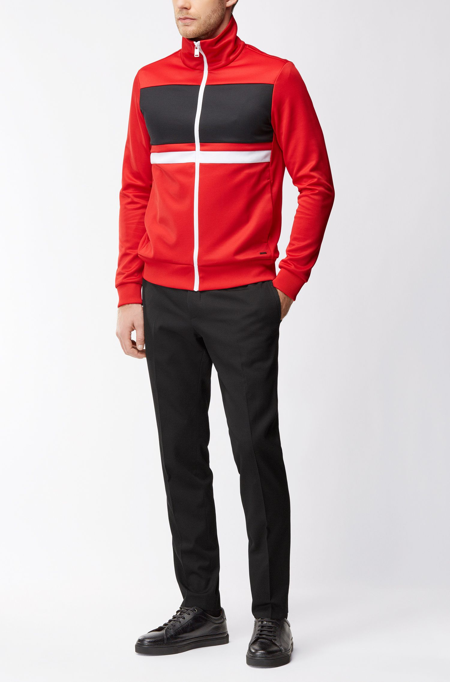 Slim-fit zip-through sweatshirt with contrast stripes
