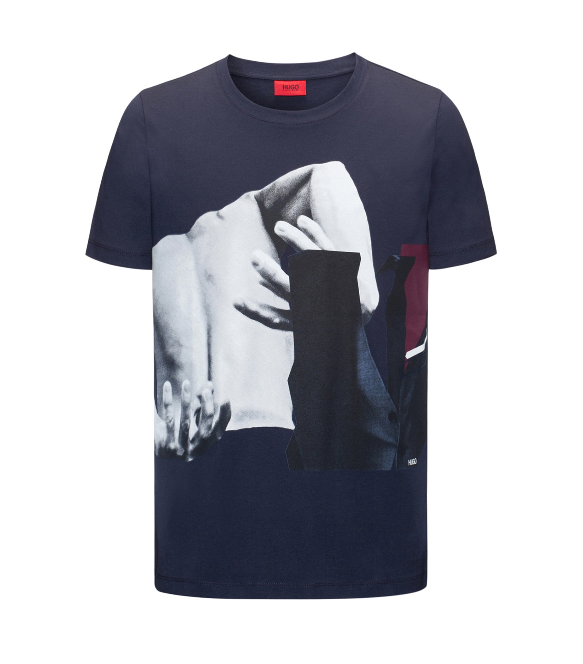 Regular-fit cotton jersey T-shirt with abstract photo print, Dark Blue