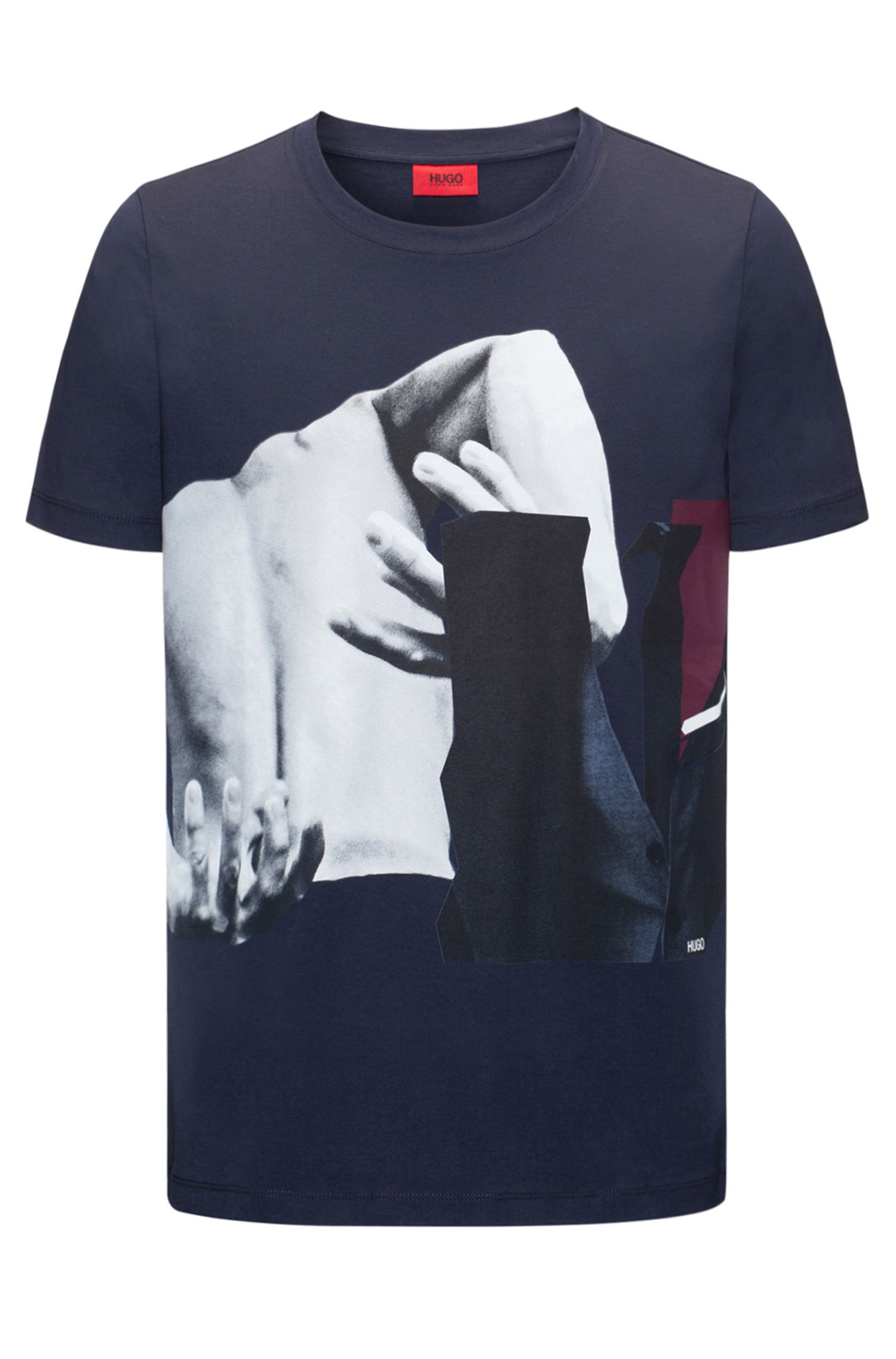 Regular-fit cotton jersey T-shirt with abstract photo print