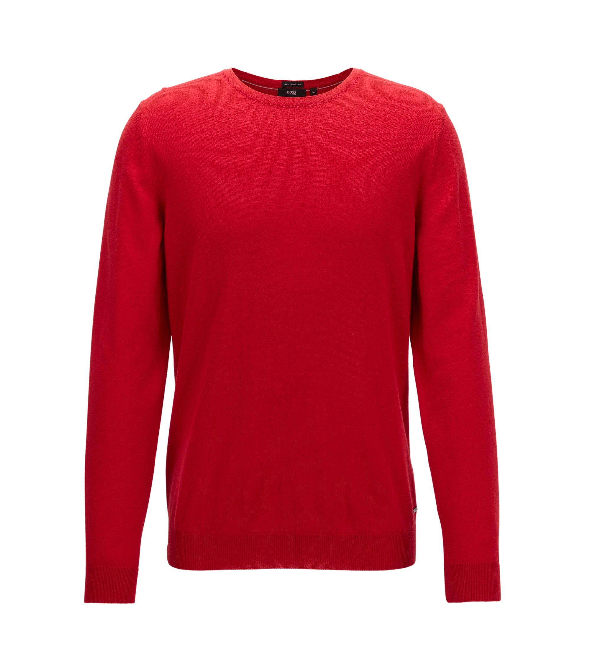 Crew-neck sweater in fine Italian cotton, Rot