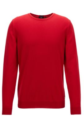 Crew-neck sweater in fine Italian cotton, Rouge