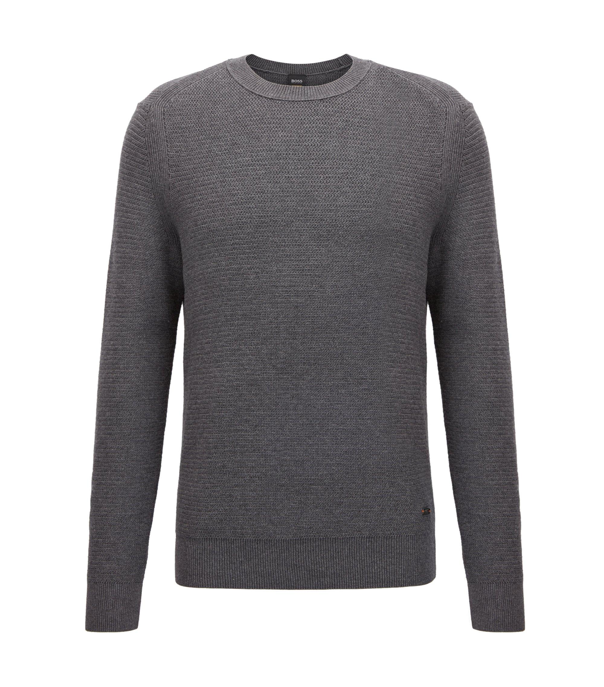 Pullover aus strukturiertem Baumwoll-Mix mit Kaschmir , Grau