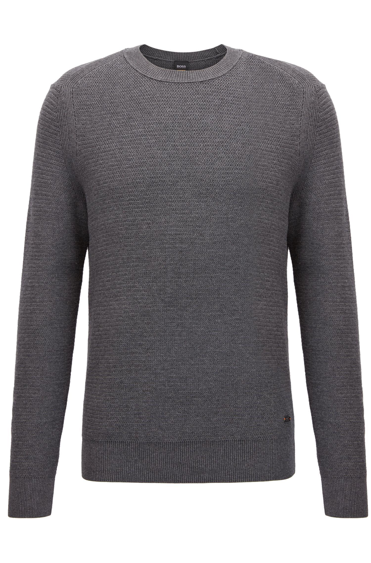 Pullover aus strukturiertem Baumwoll-Mix mit Kaschmir