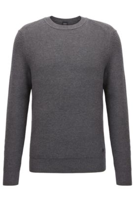 Cotton-blend sweater in a hybrid structured knit , Grey