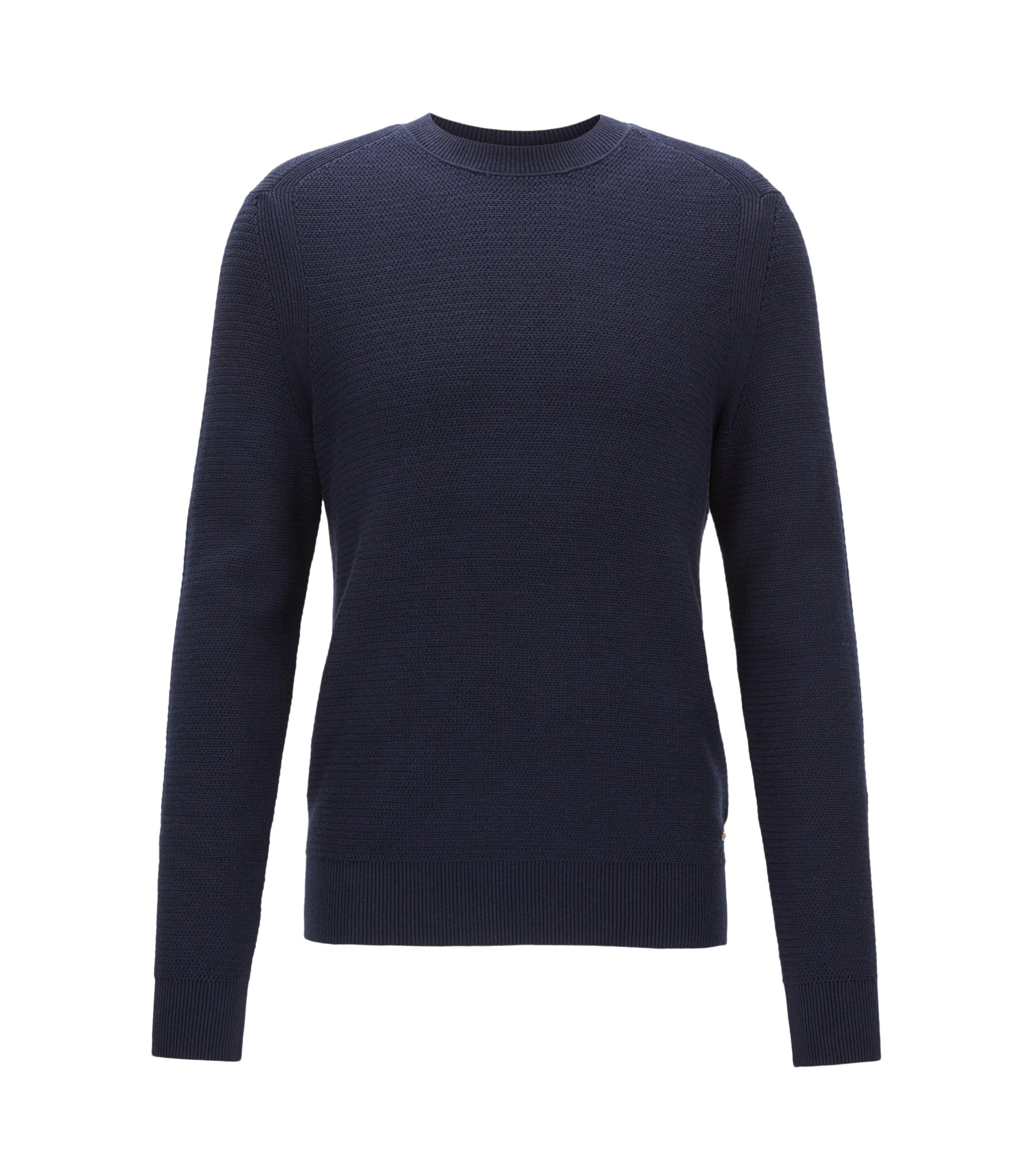 Pull en coton mélangé en maille hybride structurée , Bleu foncé