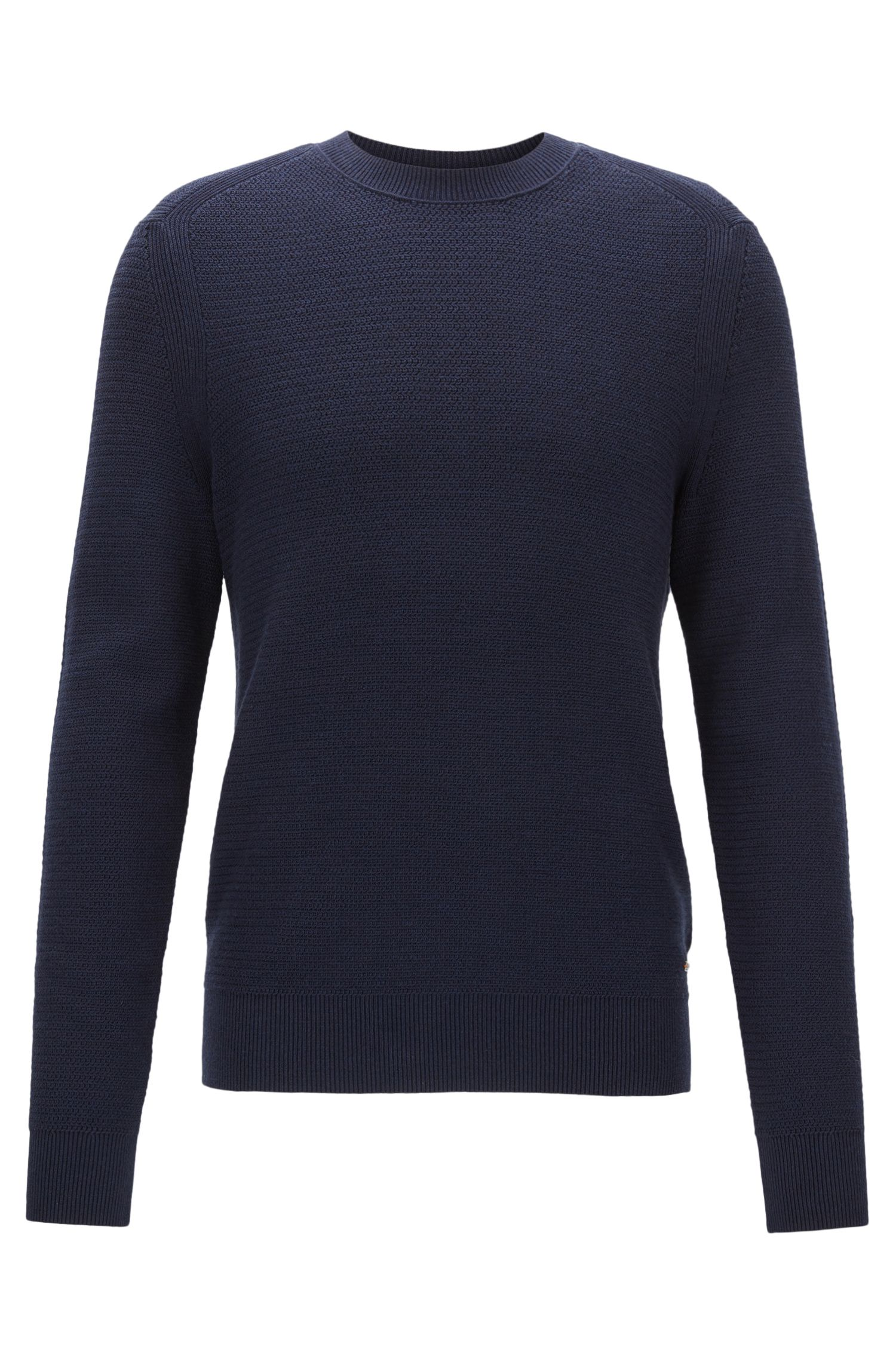 Cotton-blend sweater in a hybrid structured knit