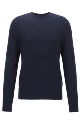 Cotton-blend sweater in a hybrid structured knit , Dark Blue