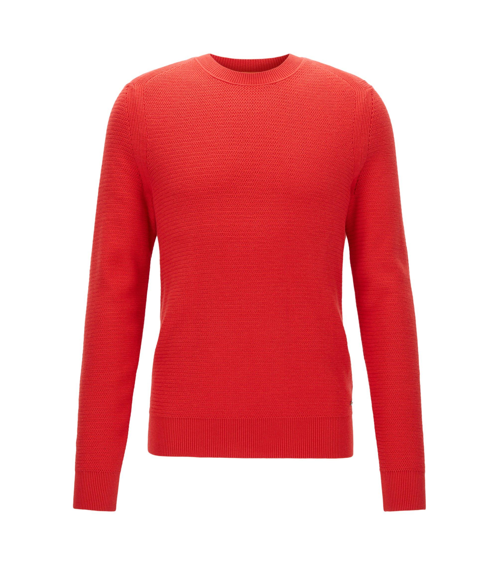 Pullover aus strukturiertem Baumwoll-Mix mit Kaschmir , Rot