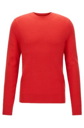 Cotton-blend sweater in a hybrid structured knit , Red