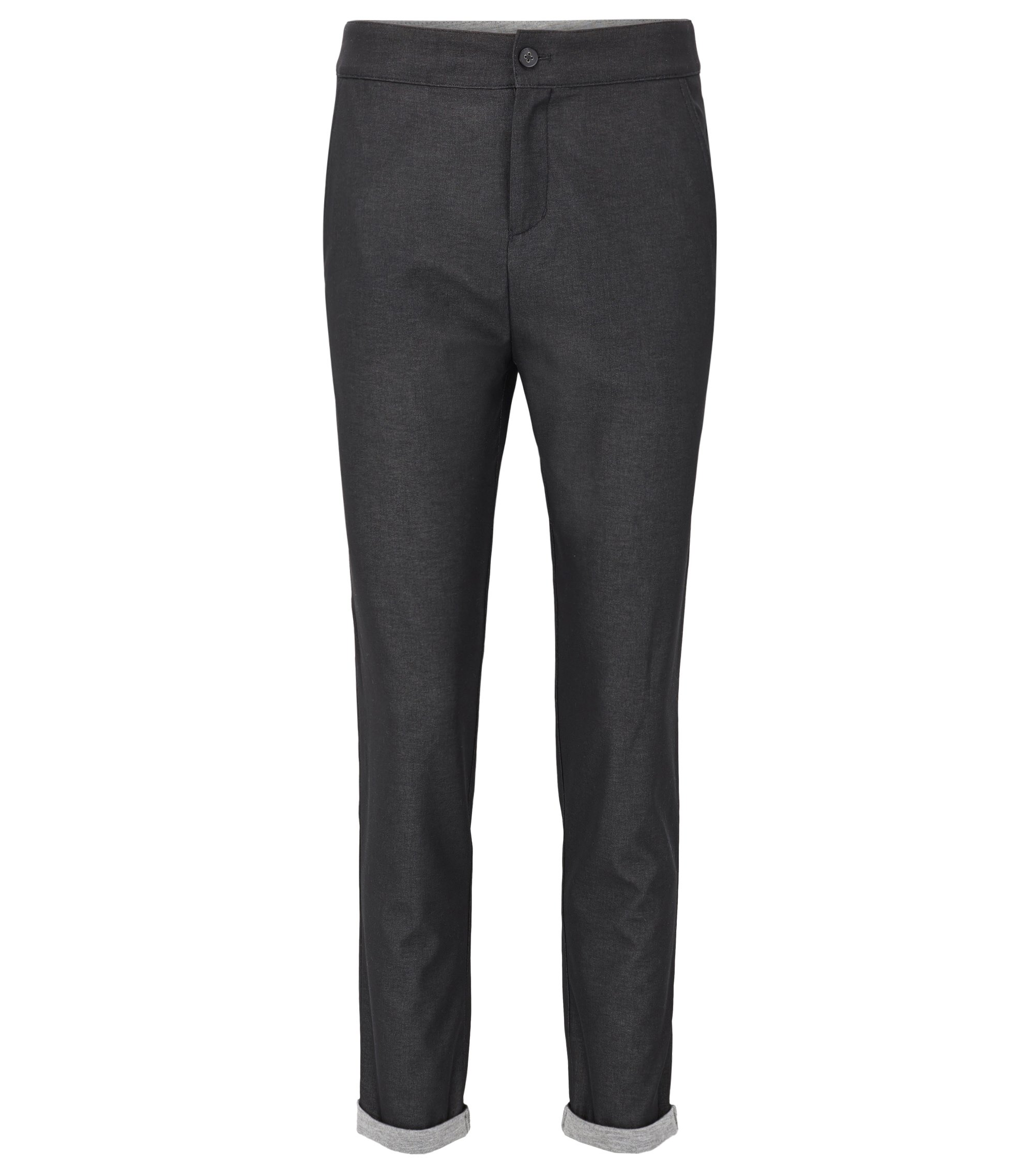 Regular-fit melange chiffon trousers bonded with jersey, Patterned