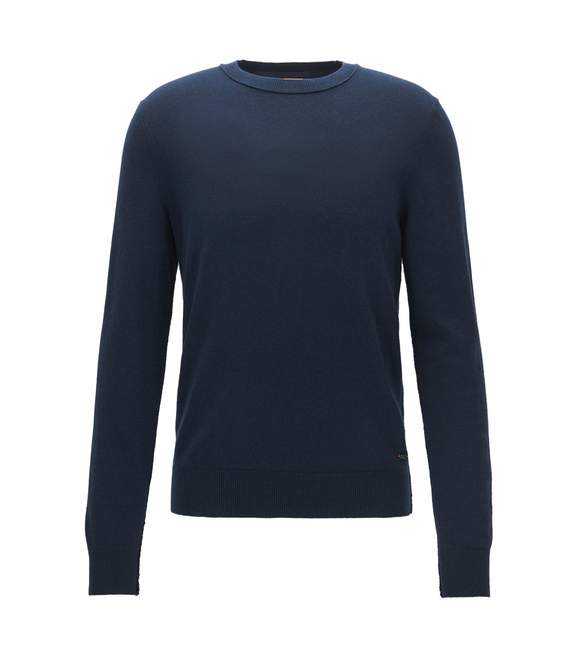 Pullover aus leichtem Baumwoll-Mix mit Woll-Anteil und offenen Kanten, Dunkelblau