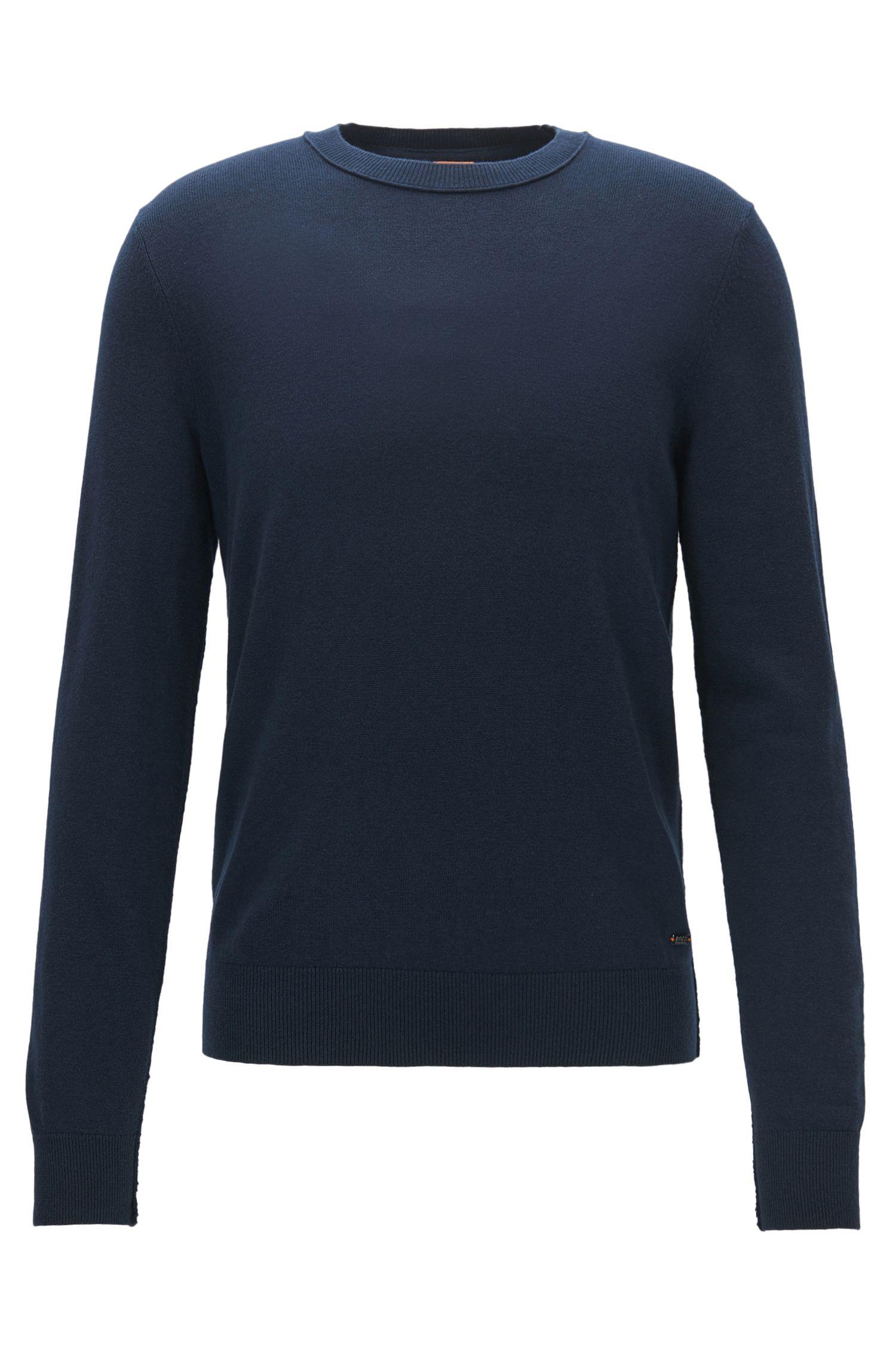 Pullover aus leichtem Baumwoll-Mix mit Woll-Anteil und offenen Kanten