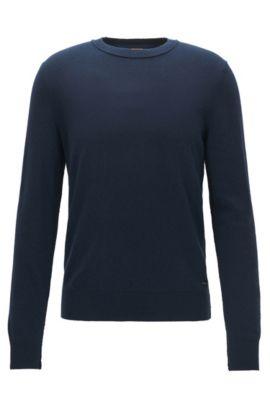 Lichte trui met onafgewerkte naaddetails, Donkerblauw