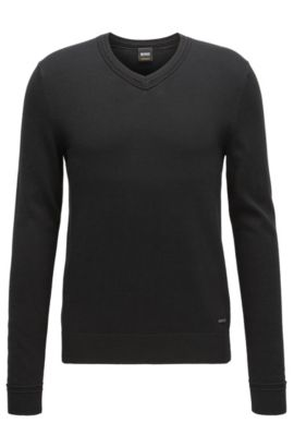 V-neck cotton-blend sweater with textured accents, Black