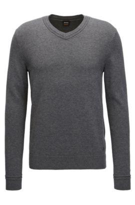 Jersey con escote en pico en mezcla de algodón con toques de textura, Gris