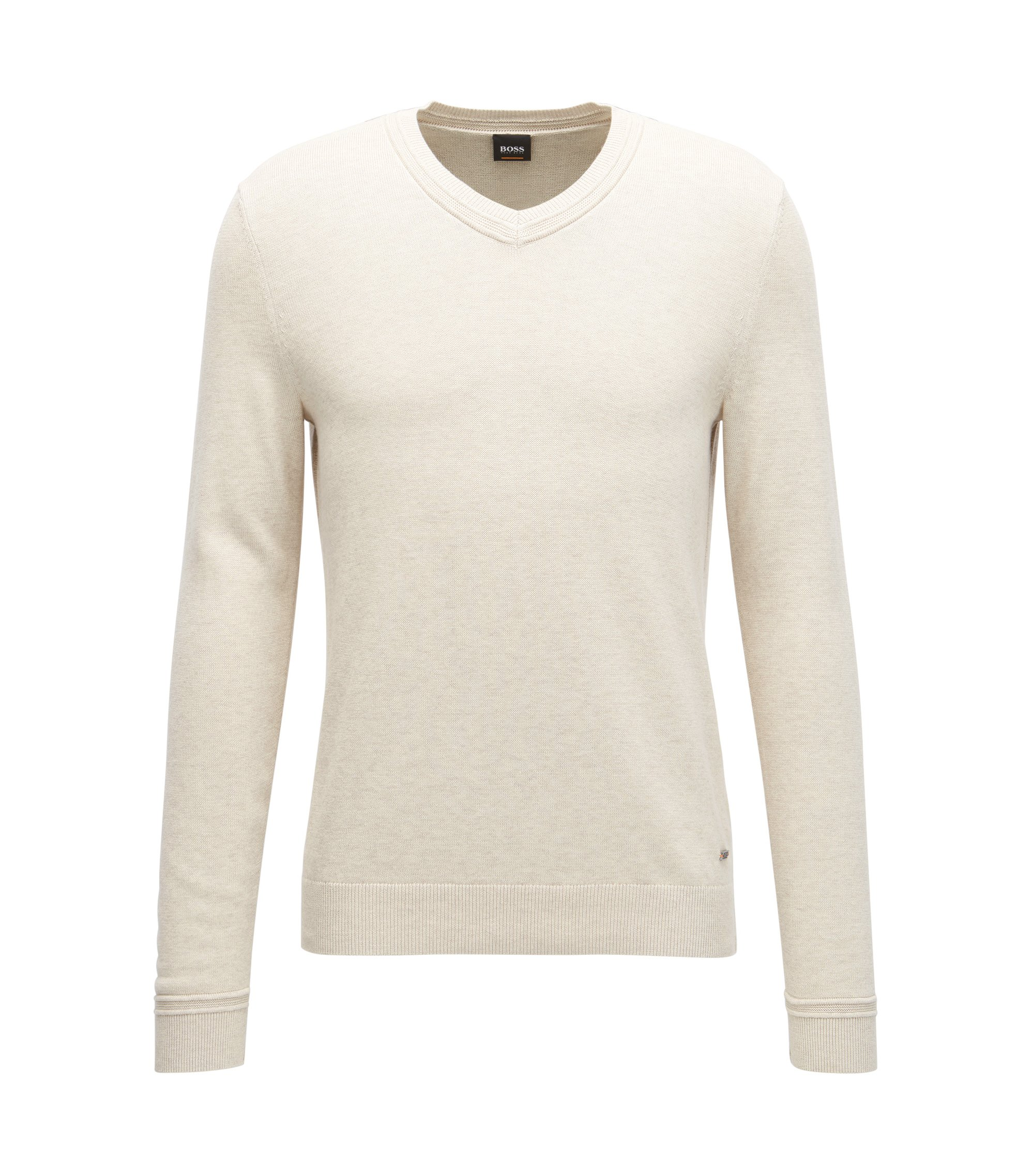 V-neck cotton-blend sweater with textured accents, Natural