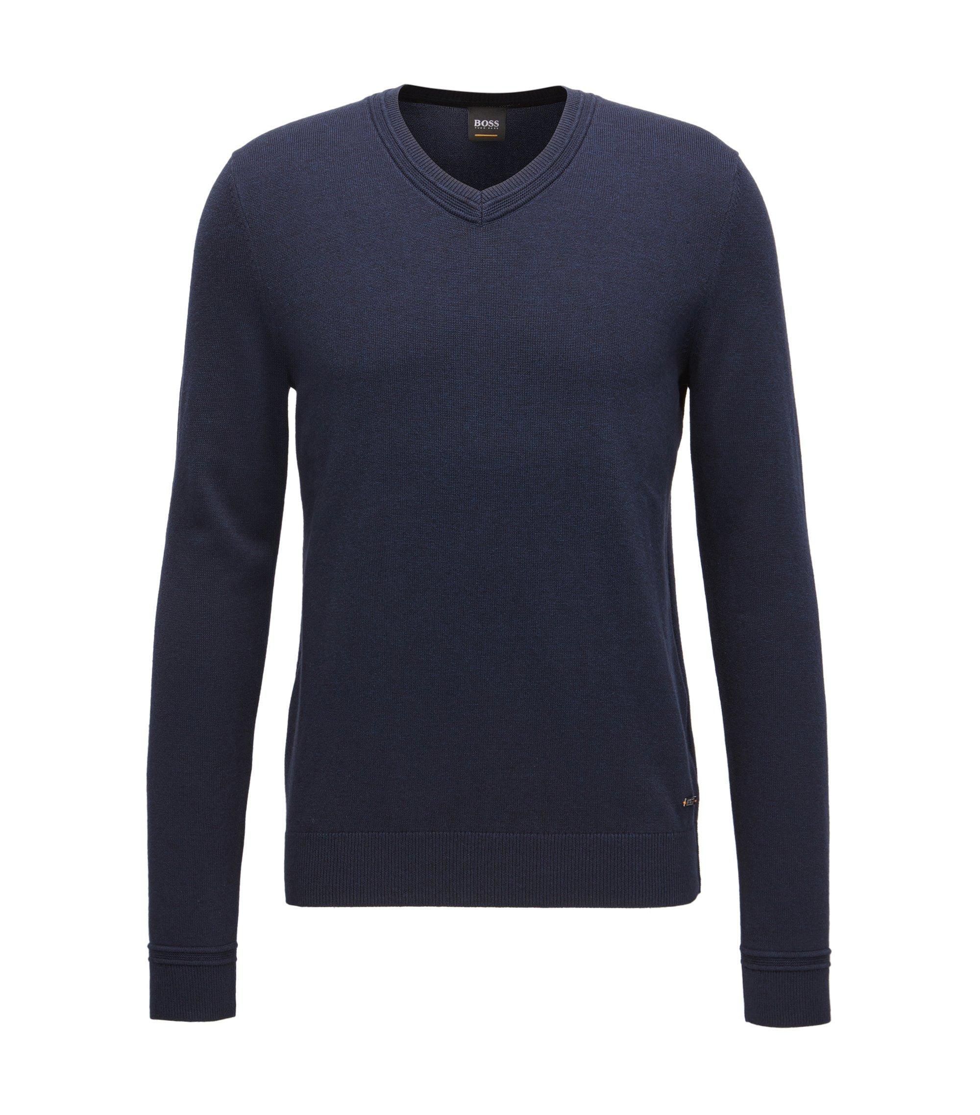 Maglione con scollo a V in misto cotone con dettagli lavorati, Blu scuro