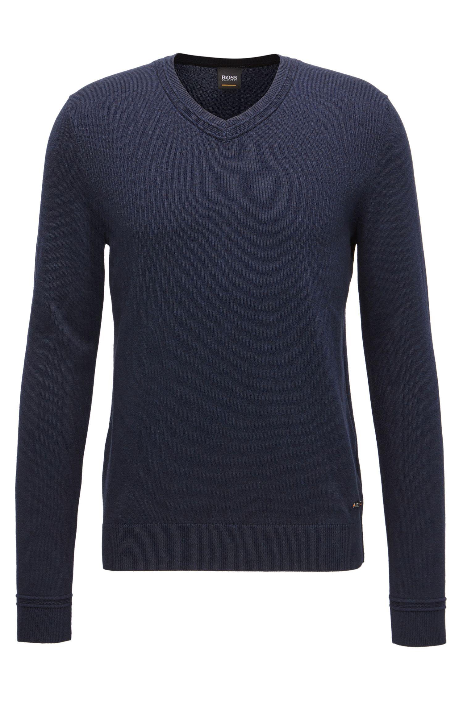 Jersey con escote en pico en mezcla de algodón con toques de textura