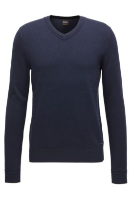 V-neck cotton-blend sweater with textured accents, Dark Blue