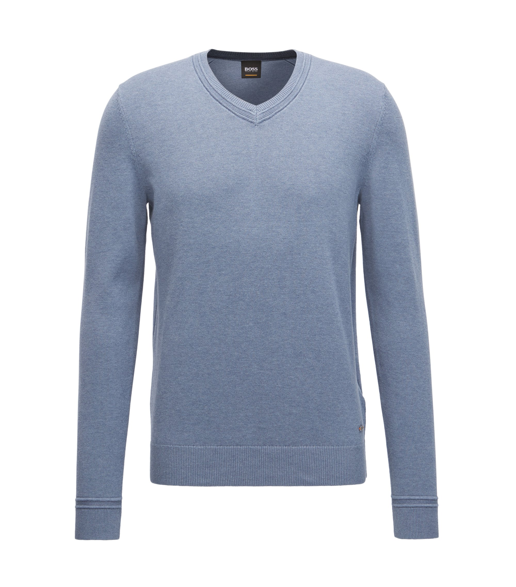 V-neck cotton-blend sweater with textured accents, Blue