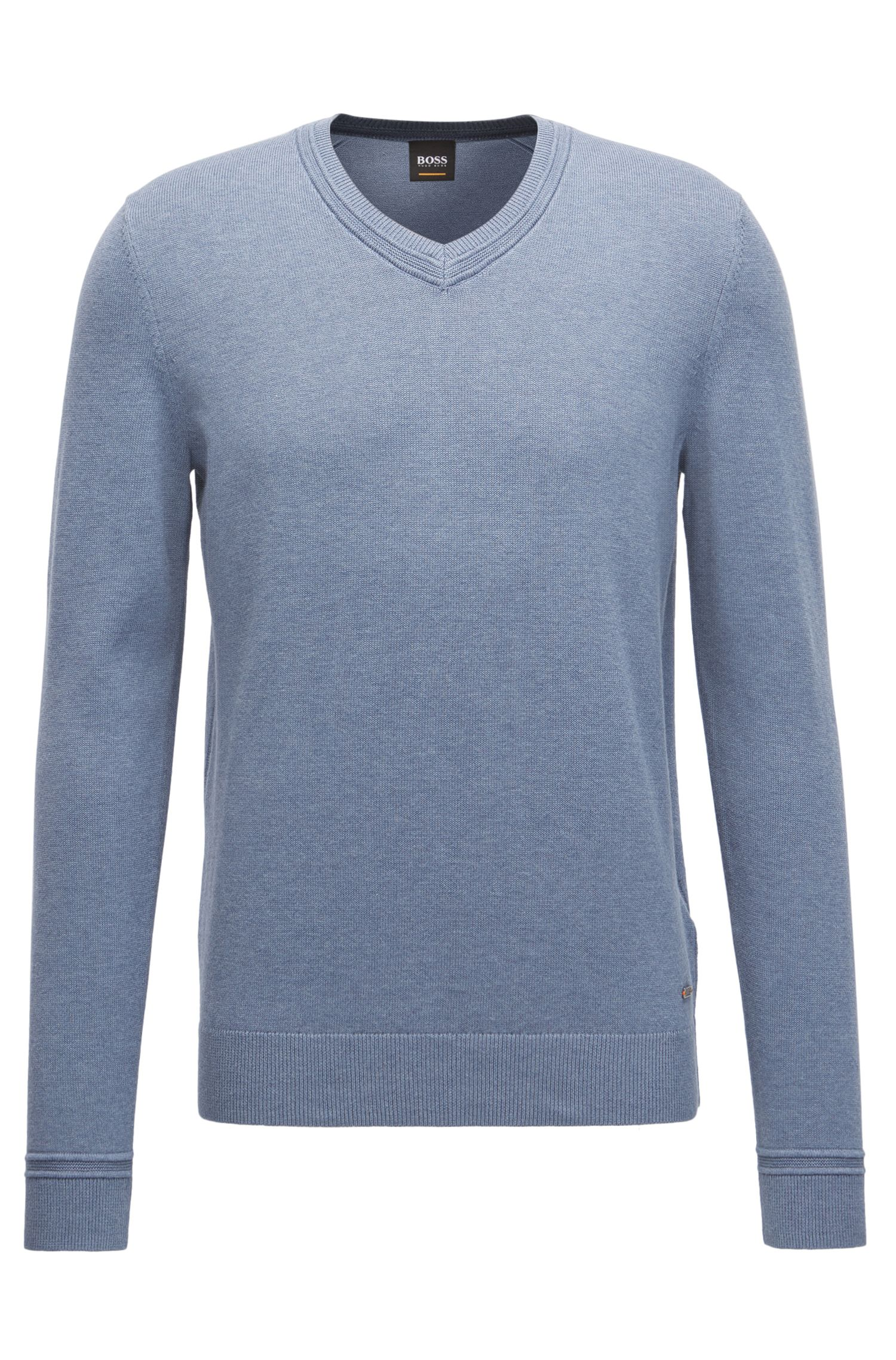 V-neck cotton-blend sweater with textured accents